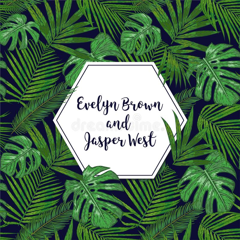 L'invitation de mariage, florale invitent le design de carte avec le tropica vert illustration de vecteur