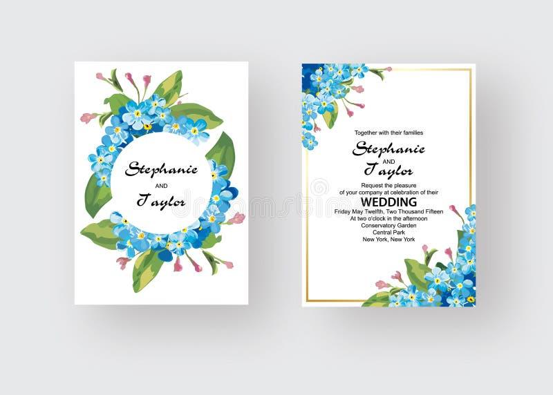 L'invitation de mariage, florale invitent vous remercient, design de carte moderne de rsvp : eucalyptus en feuille de palmier tro illustration de vecteur