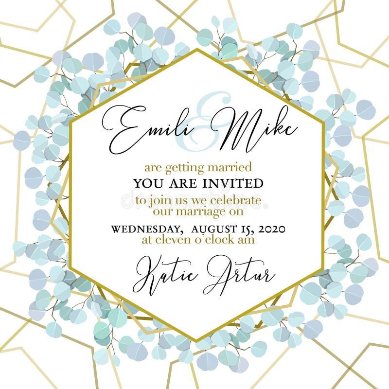 L'invitation de mariage, florale invitent vous remercient L'eucalyptus vert de verdure s'embranche modèle décoratif de cadre de g illustration de vecteur