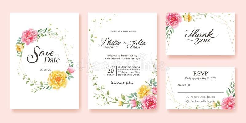 L'invitation de mariage, font gagner la date, merci, calibre de design de carte de rsvp Fleur jaune et rose, dollar en argent, fe illustration libre de droits
