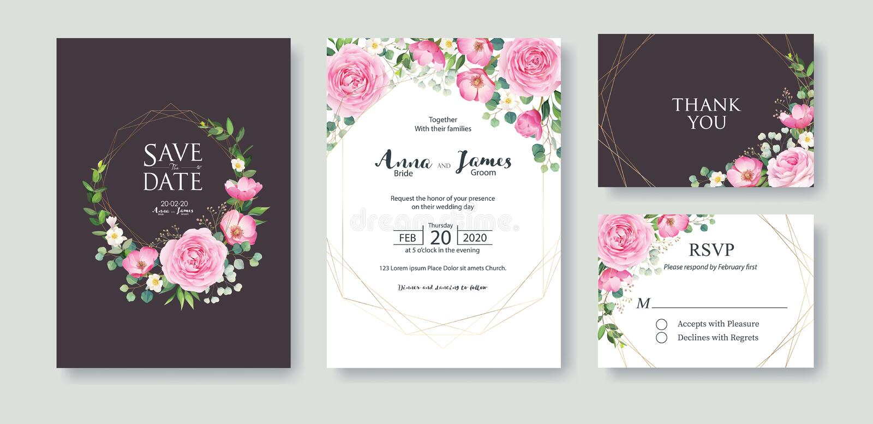 L'invitation de mariage, font gagner la date, merci, calibre de design de carte de rsvp Vecteur Fleur d'été, rose rose, dollar en illustration de vecteur