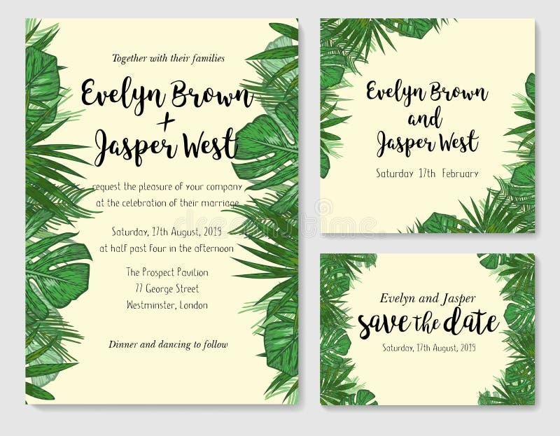 L'invitation de mariage, font gagner la date, rsvp invitent le design de carte avec illustration libre de droits