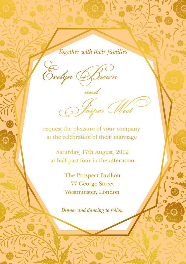 L'invitation de mariage, pavot floral invitent le design de carte avec Geometr illustration de vecteur