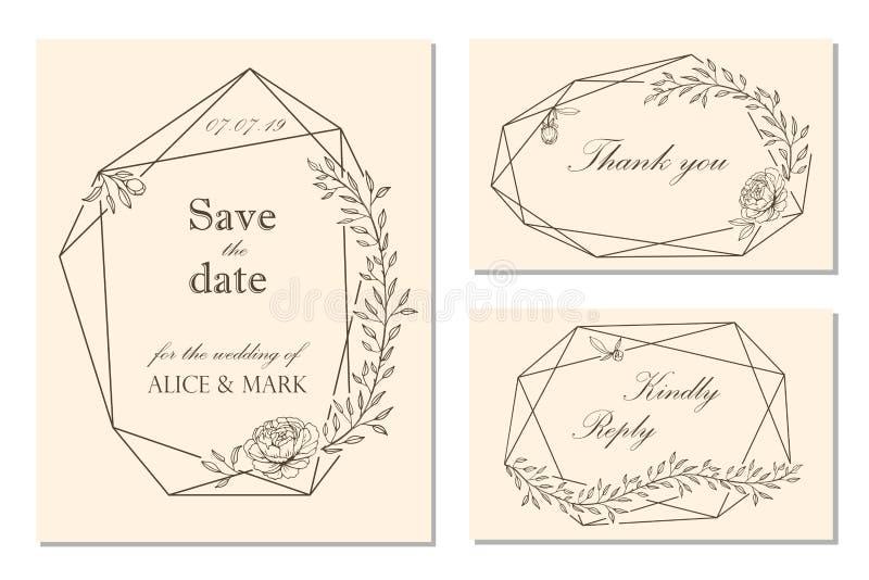 L'invitation de mariage, rsvp, sauvent le design de carte de date avec floral illustration stock