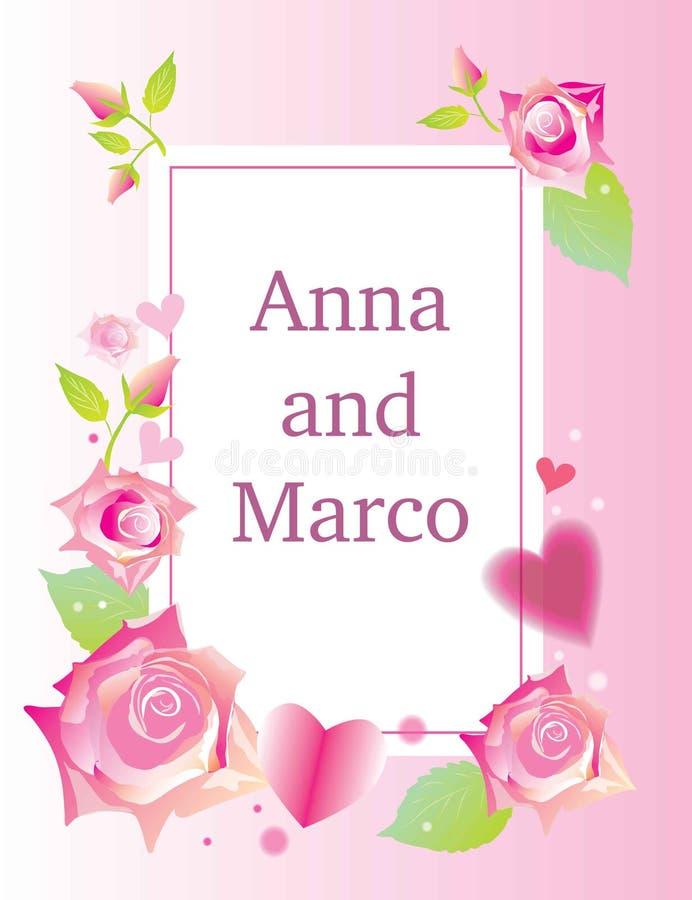 L'invitation florale de mariage élégante invitent la conception de vecteur de carte : rose de fleur de jardin illustration stock