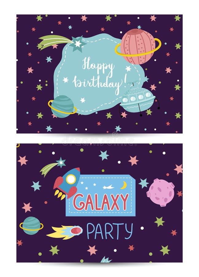 L'invitation sur des enfants a costumé la fête d'anniversaire illustration stock
