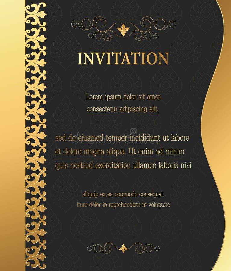 L'invito d'annata dorato, il saluto, la celebrazione, congratulazioni carda il fondo astratto illustrazione di stock