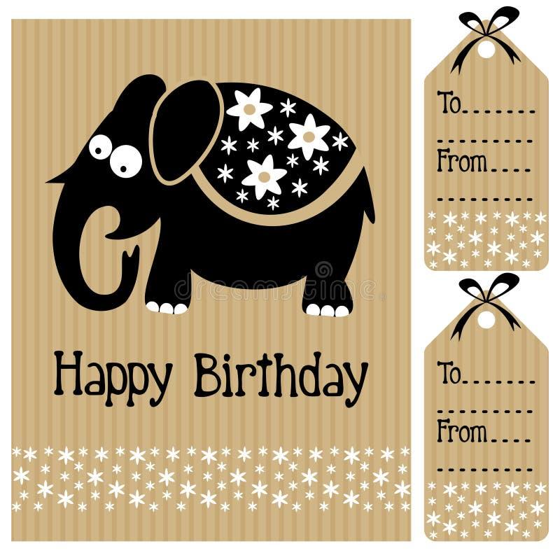L'invito della carta della doccia di bambino di compleanno e l'etichetta svegli di nome con l'elefante ed i fiori, bianco nero sch illustrazione vettoriale