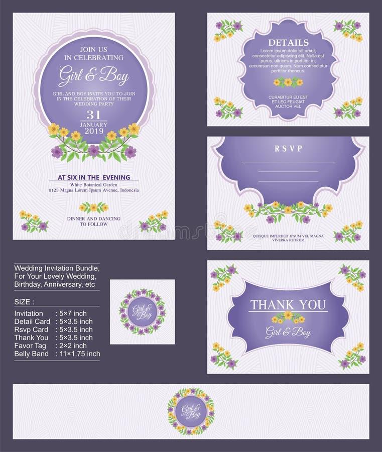 L'invito di nozze/doccia nuziale con i mazzi floreali e la corona progettano illustrazione vettoriale