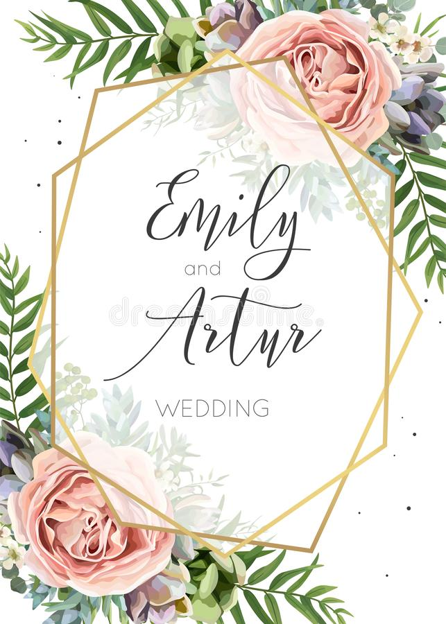 L'invito di nozze, floreale invita, conserva il DES di vettore della carta di data illustrazione di stock