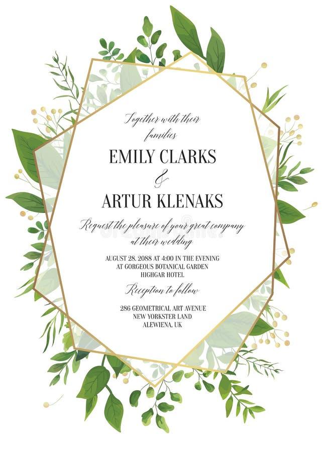 L'invito di nozze, floreale invita i risparmi la carta moderna Desi della data royalty illustrazione gratis
