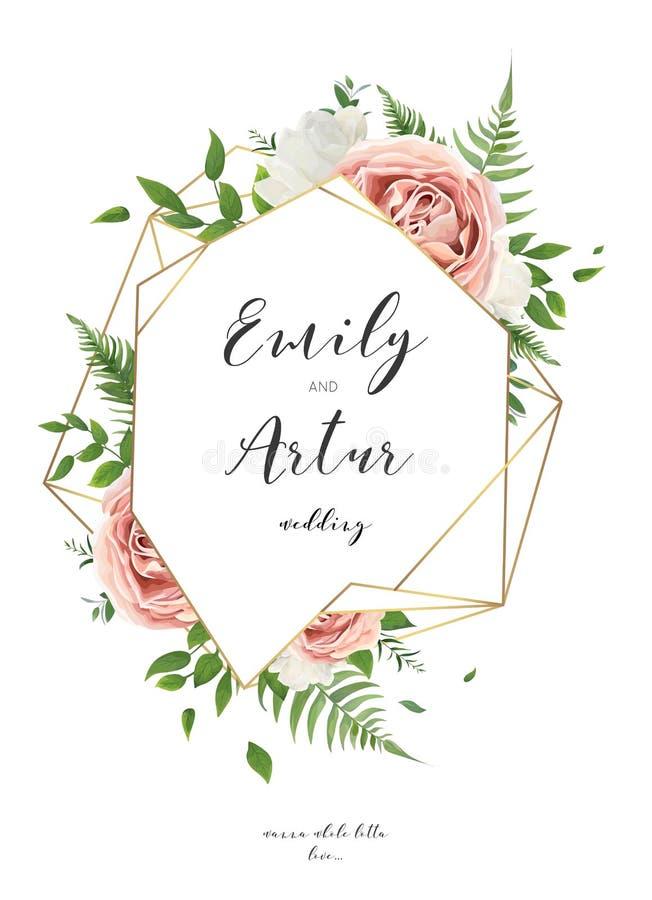 L'invito di nozze, floreale invita la progettazione di carta con bianco panna royalty illustrazione gratis