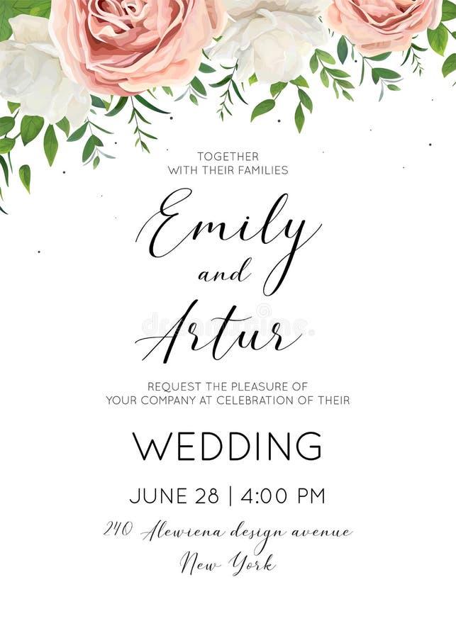 L'invito di nozze floreale invita la progettazione di carta con il g bianco panna illustrazione vettoriale