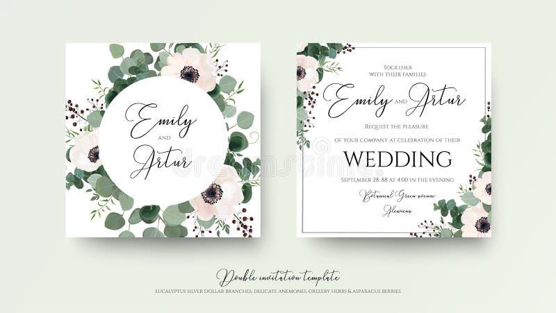 L'invito di nozze, floreale invita la progettazione di carta quadrata: rosa-chiaro illustrazione di stock
