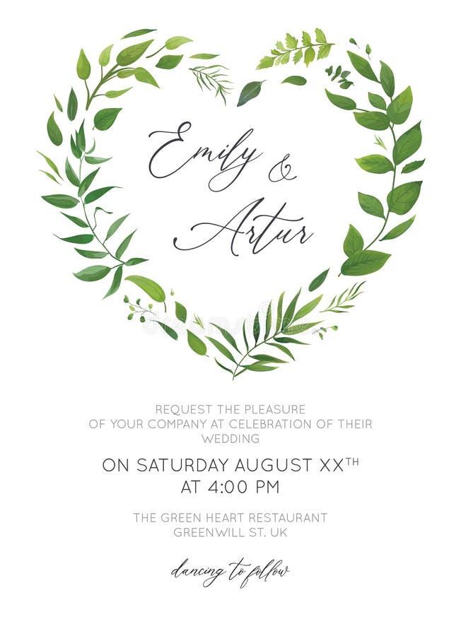 L'invito di nozze, floreale invita la progettazione moderna della carta Pianta di foglia di palma tropicale verde, eucalyptus, fo royalty illustrazione gratis