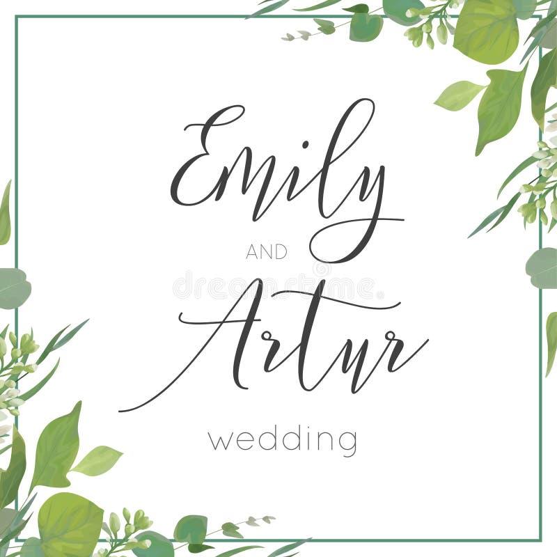 L'invito di nozze, invita, conserva la progettazione di carta della data Wat verde illustrazione vettoriale