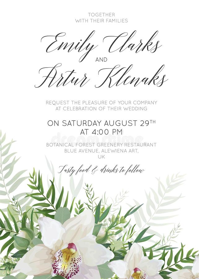 L'invito di nozze, invita, conserva la progettazione delicata w della carta di data royalty illustrazione gratis