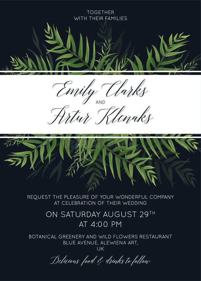 L'invito di nozze, invita, conserva lo spirito di progettazione floreale della carta di data illustrazione di stock