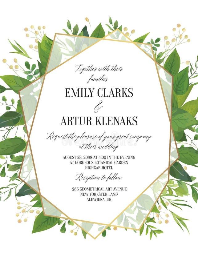 L'invito di nozze, vettore floreale invita i risparmi la data Ca moderno royalty illustrazione gratis