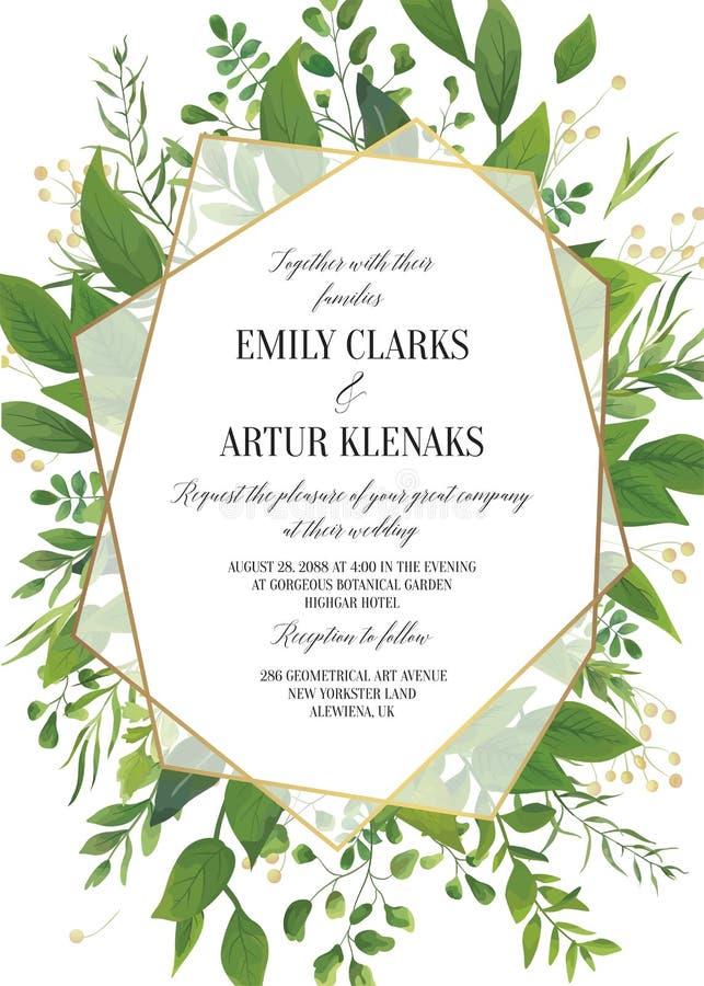 L'invito di nozze, vettore floreale invita i risparmi la data Ca moderno illustrazione di stock