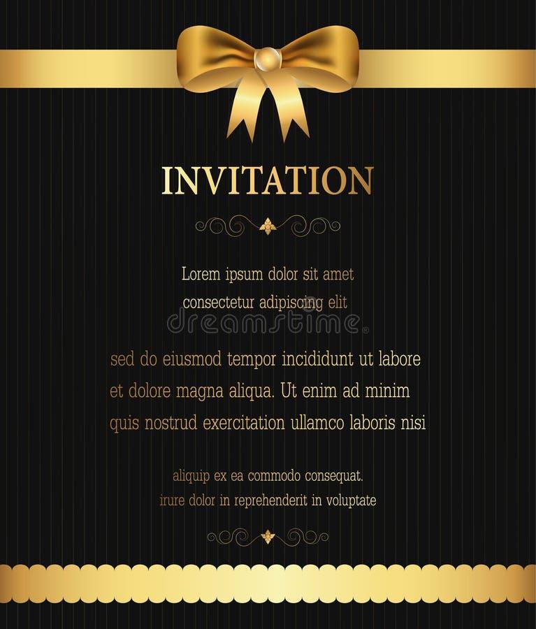 L'invito dorato del confine del nastro, il saluto, la celebrazione, congratulazioni carda il fondo astratto illustrazione vettoriale