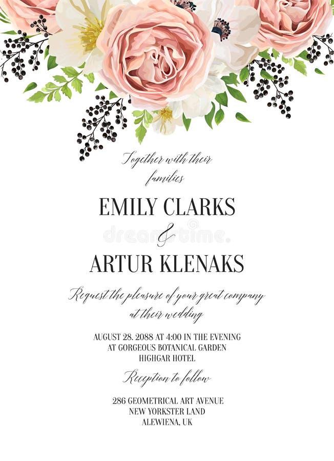 L'invito floreale dell'acquerello di nozze, conserva la progettazione di carta della data royalty illustrazione gratis