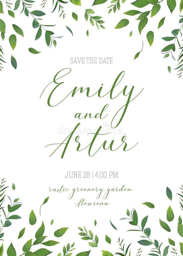L'invito floreale della pianta di nozze, invita, conserva la carta di data v royalty illustrazione gratis