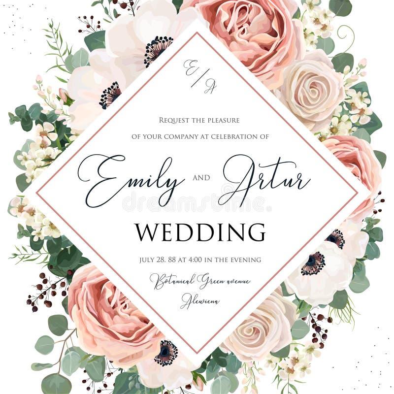 L'invito floreale di nozze elegante invita la progettazione di vettore della carta Il rosa del fiore del giardino, la lavanda Ros illustrazione di stock