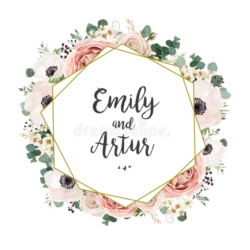 L'invito floreale di nozze elegante invita la progettazione di vettore della carta: luccio illustrazione di stock