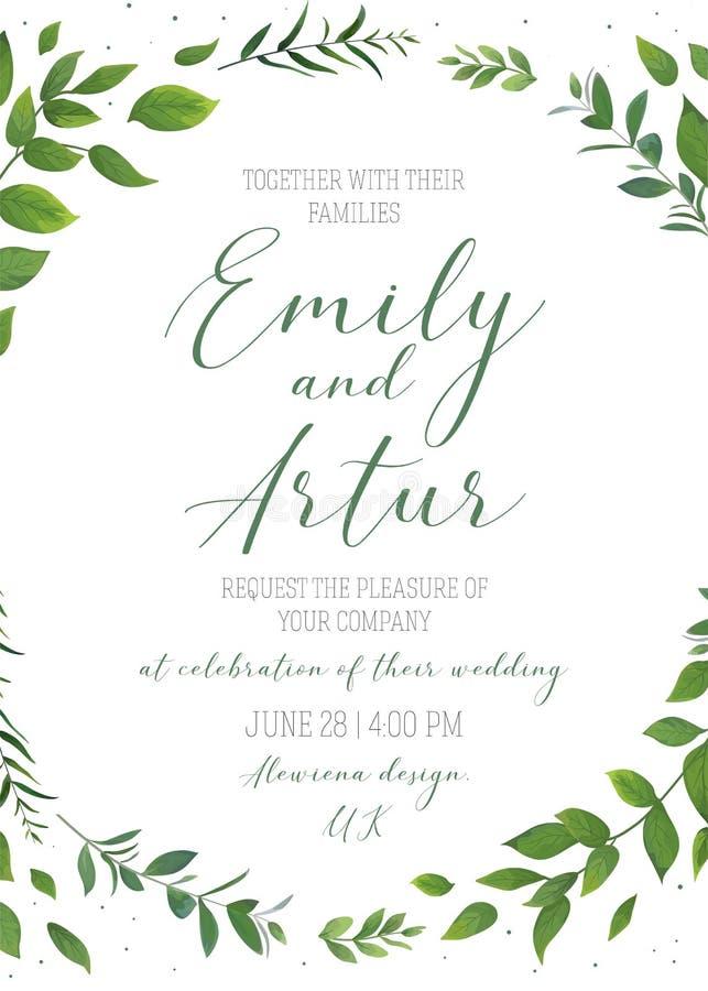 L'invito floreale di nozze, invita, conserva il tem di vettore della carta di data illustrazione di stock