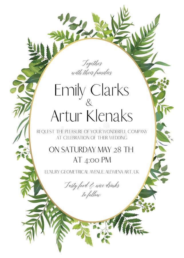 L'invito floreale di nozze, invita la carta Stile dell'acquerello di vettore illustrazione vettoriale