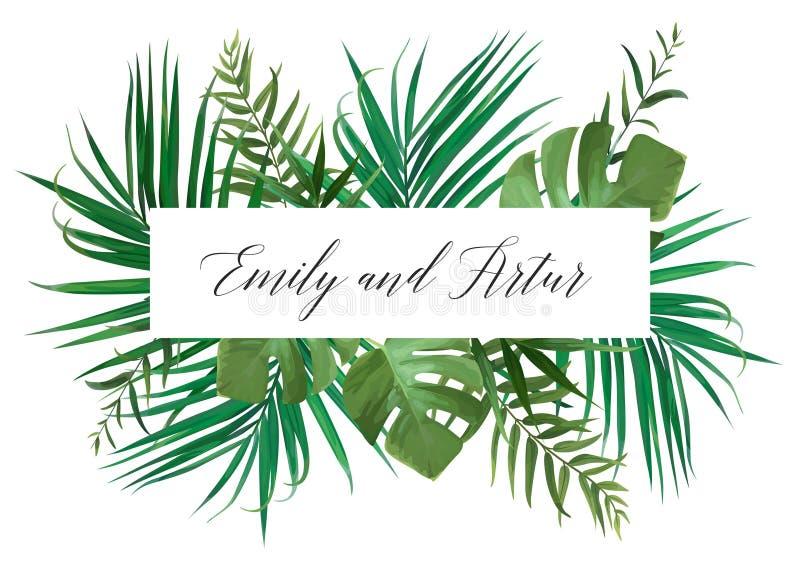 L'invito floreale di nozze, invita la carta Stile dell'acquerello di vettore illustrazione di stock
