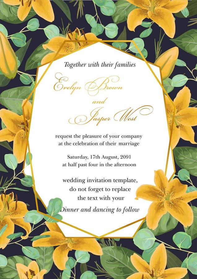 L'invito floreale di nozze, invita la carta Stile dell'acquerello di vettore, royalty illustrazione gratis