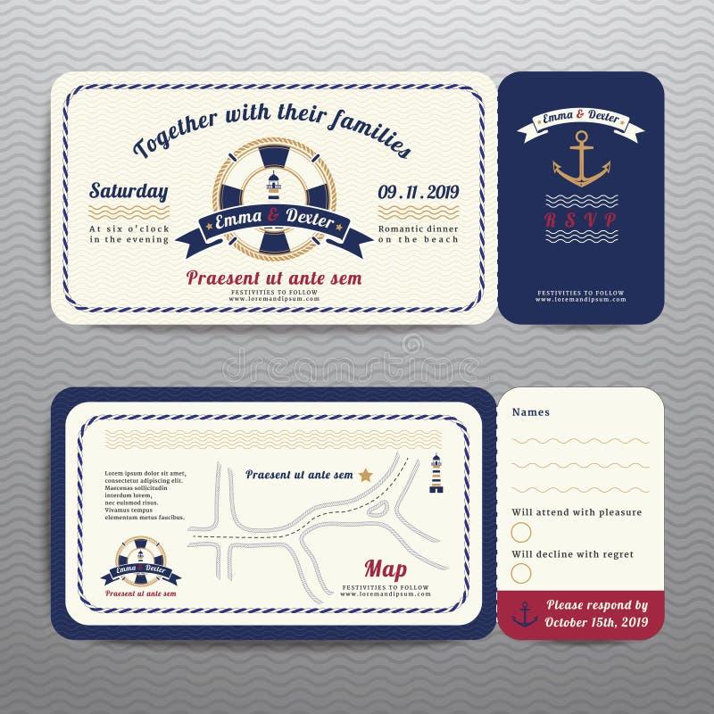 L'invito nautico di nozze del biglietto e la carta di RSVP con la corda dell'ancora progettano illustrazione di stock