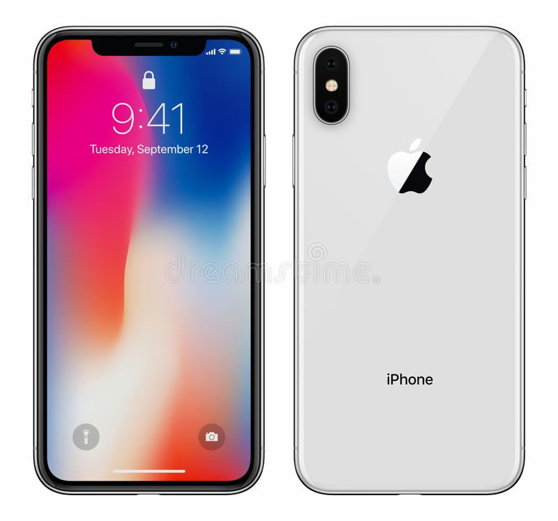 L'iPhone blanc X d'Apple avec IOS 11 lockscreen la partie antérieure et l'arrière d'isolement sur le fond blanc photographie stock libre de droits