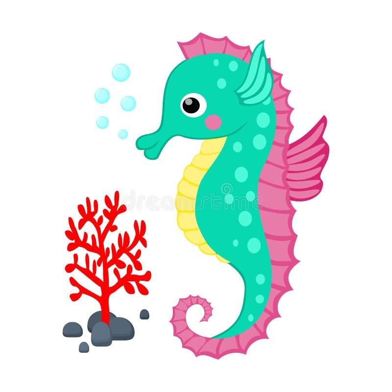 L'ippocampo sveglio del fumetto ed il ramo del corallo rosso vector il vettore tropicale g delle creature del mare del fumetto de illustrazione vettoriale