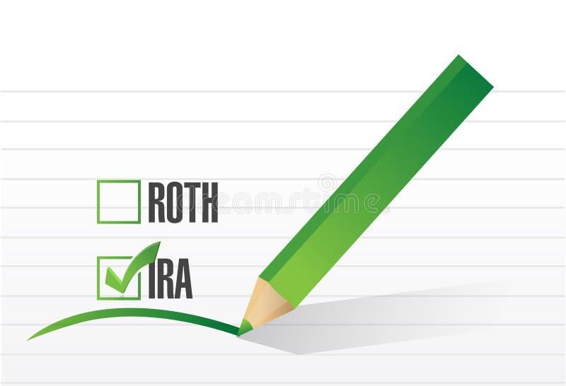 l'IRA au-dessus du concept de liste de contrôle de roth illustration libre de droits
