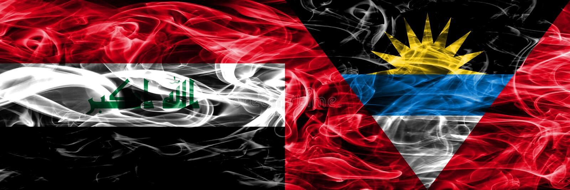 L'Irak contre les drapeaux colorés de fumée de concept de l'Antigua-et-Barbuda placés côte à côte illustration libre de droits