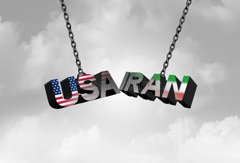 L'Iran Etats-Unis sont en conflit concept comme crise américaine et iranienne de sécurité due à la sanction économique et au conf illustration stock