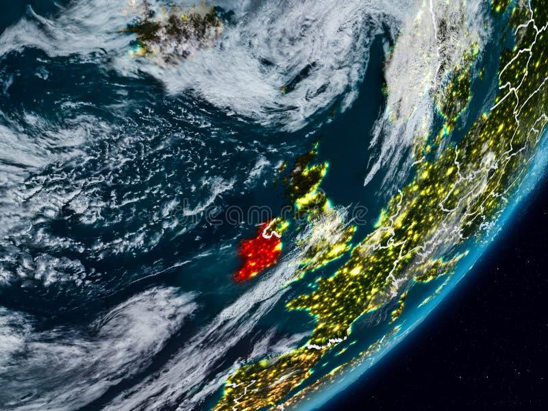 L'Irlanda su terra alla notte immagini stock libere da diritti