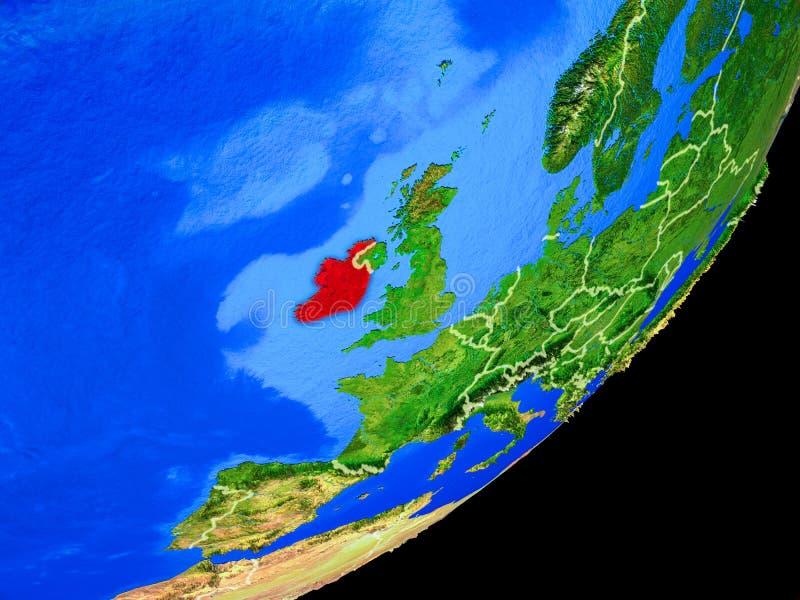 L'Irlanda su terra da spazio illustrazione di stock