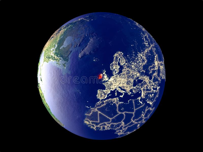 L'Irlanda su terra da spazio fotografie stock