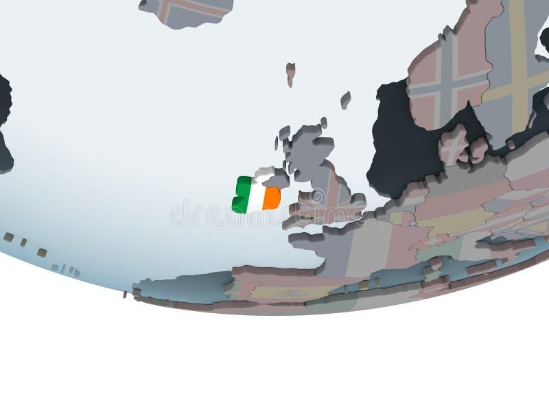 L'Irlande avec le drapeau sur le globe illustration libre de droits