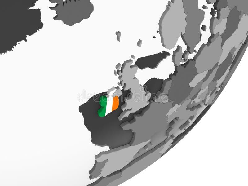 L'Irlande avec le drapeau sur le globe illustration stock