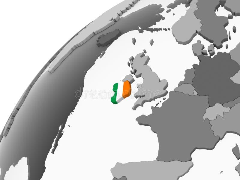 L'Irlande avec le drapeau sur le globe illustration de vecteur