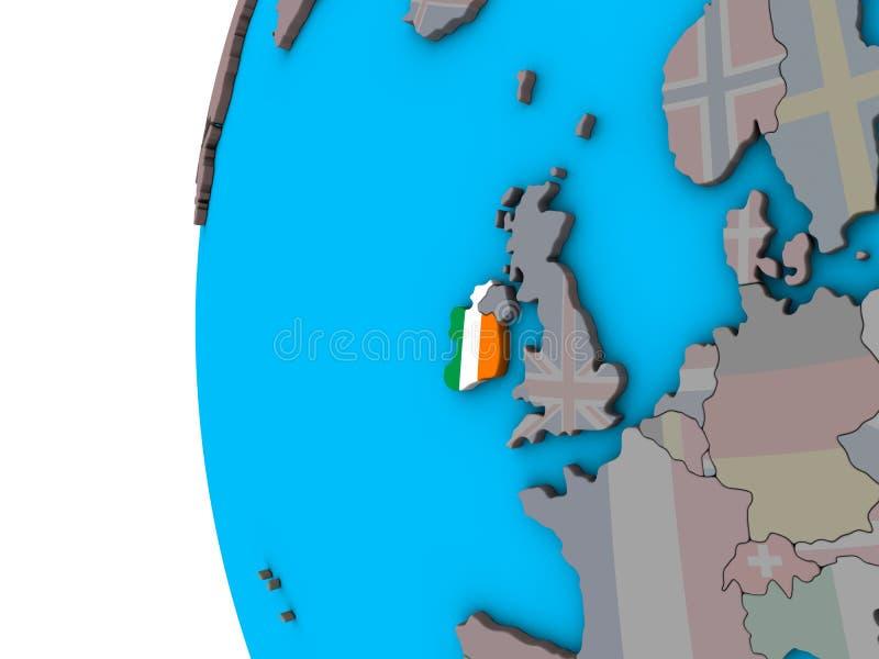 L'Irlande avec le drapeau sur le globe 3D illustration stock