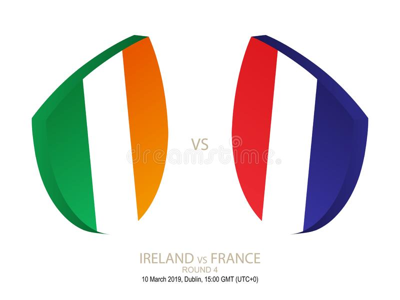 L'Irlande contre la France, rugby 2019 six championnats de nations, rond 4 illustration stock