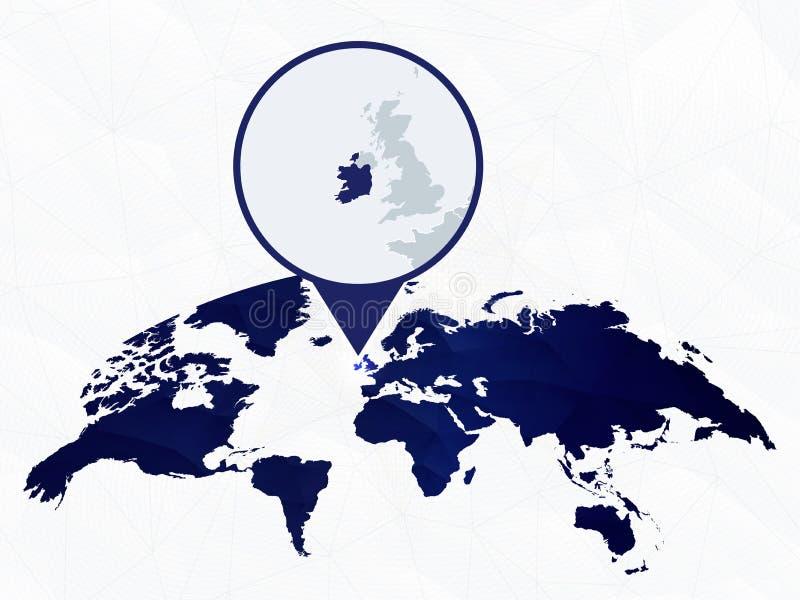 L'Irlande a détaillé la carte a accentué sur la carte arrondie bleue du monde illustration stock