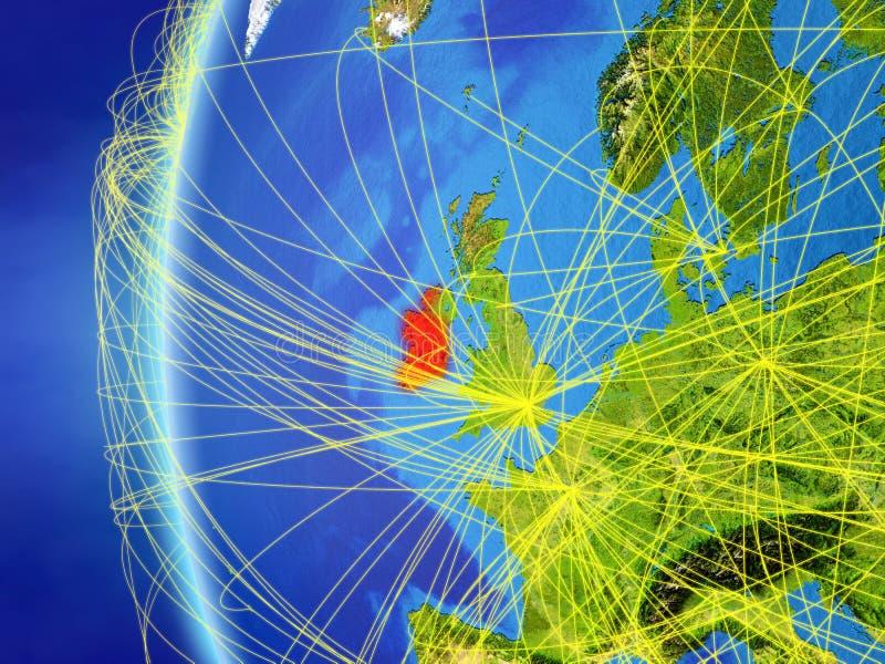 L'Irlande de l'espace avec le réseau illustration stock