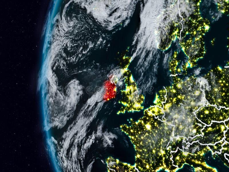L'Irlande de l'espace pendant la nuit illustration de vecteur